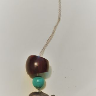 necklace,wood,elephant,turquoise